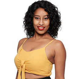 short brazilian hair styles UK - new arrival soft natural brazilian hair short curly rarely lace front wig Simulation Human Hair short bob style curly wig for lady