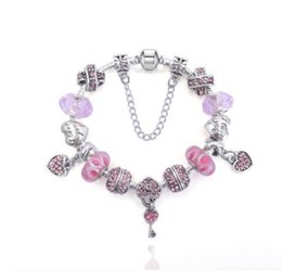 Pandora Silver Plated Bracelet Love Australia - Fashion 925 Sterling Silver Love you Murano Lampwork Glass & Crystal European Four Leaf CloverCharm Beads Fits Pandora Charm bracelet