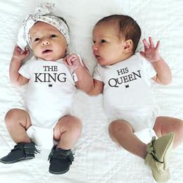 $enCountryForm.capitalKeyWord NZ - Twins Girl and Boy Bodysuit Newborn Baby Bodysuit Clothes Cotton Infant Short Sleeve Letter Jumpsuit Summer Onesie for Babies