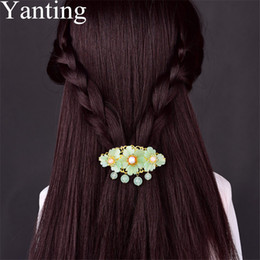 head flower hair clip accessories UK - Yanting Ethnic Hair Ornaments Handmade Hair Clip Pin Glass Glazed Flower Accessories For Women Bridal Head Jewelry Gift 024