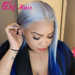 Glueless Lace Celebrity Wigs Australia - Long Grey to blue ombre lace Front Wig synthetic hair straight celebrity 13X4inche glueless lace frontal wig for women natural hairline