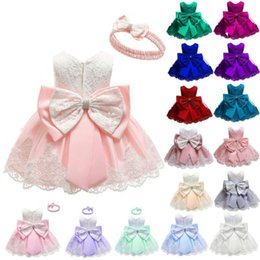 kids princess velvet clothes UK - Vieeoease Baby Dress Lace Christening Gown Baptism Clothes Headband 2019 Newborn Kids Birthday Princess Infant Party Costume CC-532