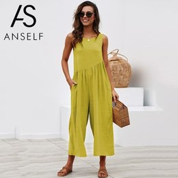 Overalls Jumpsuits For Women NZ - Jumpsuits for Women 2019 Summer Casual Overalls Sleeveless Tracksuit Loose Wide Leg Pant Ruched Playsuit Rompers female Pantsuit