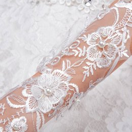 white fingerless wedding long gloves Australia - Fingerless Long Lace Bridal Gloves Lady Formal Banquet for Bride Evening Party White Lace Glove Accessories Wedding Dress