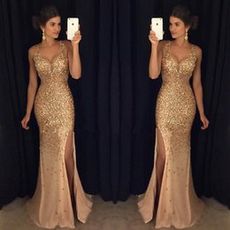 T Shirt Dress Split Up Sides Australia - 2K19 New Design Sexy Burgundy Prom Dresses with Gold Lace Appliqued Mermaid Front Split for 2019 Long Party Evening Wear Gowns
