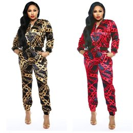 Gold Print Art Australia - Women's Fashion Spring Classic Black Gold Print Casual Sports Set Two-Piece Casual Tracksuits Zipper Long Sleeve Top and Pants Outfits 2019