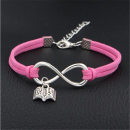 setting books NZ - New Punk Fashion Weave Punk Vintage Cuff Infinity Open book Shape Charm Male Hot Pink Leather Women Bracelets Men Female Jewelry Accessories