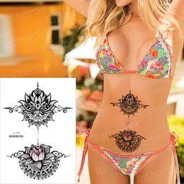 $enCountryForm.capitalKeyWord Australia - stickers bikini body tattoo fake black henna tattoo sticker mandala lotus sternum temporary under breast sexy arab decal