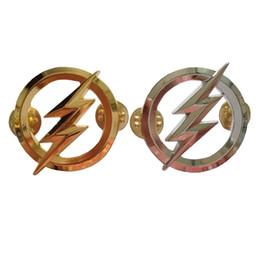 $enCountryForm.capitalKeyWord UK - US The Flash Metal Badges Personality Badge Pin Gold and Silver