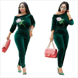 39544c05ccd Green Velvet Women Jumpsuits High Quality Sequins Flowers Applique Slash  Neck Long Sleeves Skinny Women Party Club Pants Suits Real Pictures