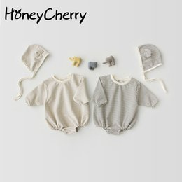 Pure Baby Clothes Australia - 2019 Baby Romper With Lovely Stripes Small Ears Caps Hats Pure Cotton Two-piece Climbing Suit Baby Girl Clothes Y19050602