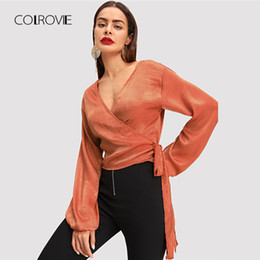Elegant Kimonos Australia - Colrovie Orange Wrap Elegant Autumn Long Sleeve Girls Work Blouse Shirt Fashion Sexy Women Tops And Blouses Q190520