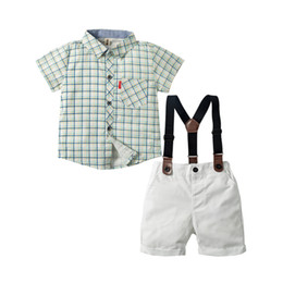 $enCountryForm.capitalKeyWord UK - Green Plaid Shirt White Shorts with Belt Boys Clothing Baby Set 1-4 Years Birthday Casual Suit Summer Newborn Children Clothes