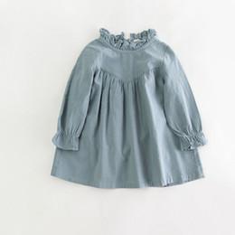retail girl shirt 2019 - Retail Children Girl Spring Cotton And Linen Dress Vintage Baby Girl Loose Shirt Dress High Quality Girl Blouse Autumn C