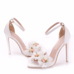 $enCountryForm.capitalKeyWord NZ - Handmade Lace Flower Summer Sandals Beautiful Fashion High Heel Sandal Bridal Wedding Party Shoes 4 Inches Slender Bridal Shoes