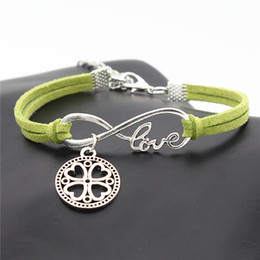 $enCountryForm.capitalKeyWord Australia - Fashion Infinity Love Round Carved Four Leaf Clover Flowers Pendant Bracelets for Women Men Luxurious Green Leather Suede Rope Jewelry Gifts