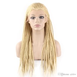 braided lace front wigs Australia - Braid Lace Wig Glueless Blonde Colored Long Heat Resistant Fiber Micro Braided Lace Front Cheap Synthetic Braiding Light Blonde Hair Wigs