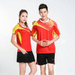 a622cac1f Adsmoney Men and women couples badminton wear quick-drying breathable short- sleeved V-neck tennis t-shirt table tennis clothing