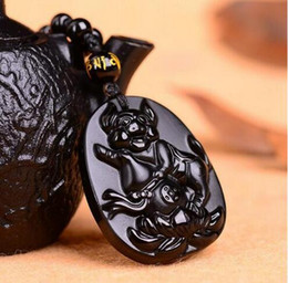 $enCountryForm.capitalKeyWord Australia - Beautiful Natural obsidian black carved lotus pig luck chinese Zodiac twelve totem pendant + pearl necklace fashion jewelry