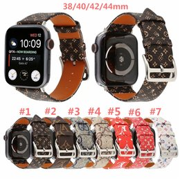 replacement straps UK - For Apple Watch Band 38 40mm 42 44mm Branding Genuine Leather Bracelet Replacement Designer Premium Monogram Watchbands Strap Accessories