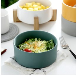 fruit tray bowl UK - ABUI-Salad Bowl Noodles Bowls With Wooden Tray Fresh Color Container Fruit Bowl Bowls