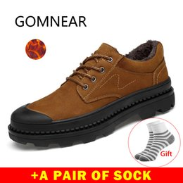 mens leather hiking shoes NZ - GOMNEAR 2019 Winter Men Shoes Sneakers Outdoor Shoes Waterproof Genuine Leather Hiking Trekking Boots Mens Warm Big Size