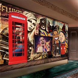 Chinese  custom size 3d photo wallpaper living room mural Graffiti Retro European Styles 3d picture sofa TV backdrop wallpaper non-woven wall sticker manufacturers