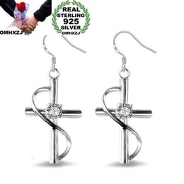 sterling silver cross dangle earrings Canada - OMHXZJ Wholesale Personality Fashion OL Woman Girl Party Wedding White Cross Zircon 925 Sterling Silver Earrings YE297