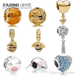Flattest Mouse Australia - EDELL 100% 925 Sterling Silver New Honey bee Gold Color Generous Fashion Suitable Heart Shaped Beads Smiling Mouse Charm Womens