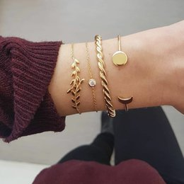 $enCountryForm.capitalKeyWord Australia - Europe and America Exaggerated Trend Leaves Thick Twist Drill Crescent Moon Disc Four-piece Bracelet Jewelry