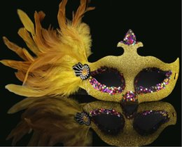 $enCountryForm.capitalKeyWord Australia - Masquerade Mask Adult Female Half Face Princess Mask Child Sexual Love Party Mask Prom with Feather Y026