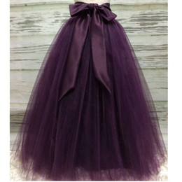 Wholesale tulle skirts for sale - Group buy Puffy Dark Purple Long Tulle Skirts For Women With Riffon Sash Puffy Tutu Skirt Female Adult Saias Custom Made New Elastic MX190729