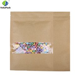 Paper Packing Bags Australia - High quality 14x20cm(5.5x7.75in) 100x Tear Notch Flat Pouch Inside Mylar Zip Lock Kraft Paper Packing Bags with Clear Window