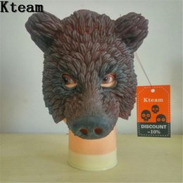 mask stock NZ - Halloween Party Celebration Fancy Dress Full Face Cosplay Bear head Mask Costume Latex Brown Bear Mask for Carnival in stock