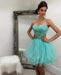 Short royal blue Sweet 16 dreSSeS online shopping - 2020 New Homecoming Dresses Minit Green Tulle Short Sweetehart Beaded Sequins Prom Party Gowns Cheap Club Wear Sweet Cocktail Dresses