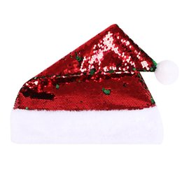 christmas sequins Australia - Fashion Sequins Adults Christmas Hat Beanie Winter Warm Pompon Santa Clause Hat For Wedding Party Supplies Home Decoration