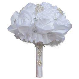 Bridal Brooch Flower UK - 20CM White Silk Rose Wedding Bouquet Rhinestone Brooch Bridal Bouquet Handmade Artificial Wedding Flower Bridesmaid Bouquet