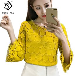 women clothes apricot Australia - Hollow Out Lace Blouses Shirts New Autumn Korean Women Clothing Flare Sleeves O-neck Slim Female Apricot White Tops T7o009a MX19070501