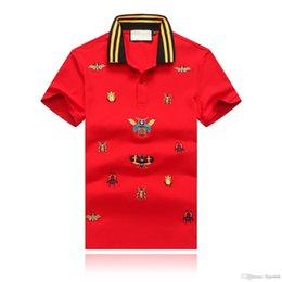 $enCountryForm.capitalKeyWord NZ - New fashion men polo shirt Leisure embroidery Bee pattern short-sleeved polo shirt summer Cotton Striped collar men short-sleeved polo shirt