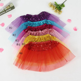 Mini tutus online shopping - Dance Skirt Kids Girls Party Bling Sequin Princess Skirts Children Girl Shine Tulle Ballet Dancewear Kids Short Cake Dance Skirt EEA706