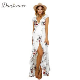 maxi dress elegant black chiffon Australia - Danjeaner New Floral Print Chiffon Long Dresses Women Strap V-neck Split Beach Summer Dress Sexy Elegant Slim Fit Maxi vestidos