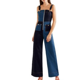 pants block UK - rompers womens jumpsuit 2019 Spring Strapless Color Block Women Denim Overalls Fashion Slim Wide Legs Jeans Pants Denim jumpsuit