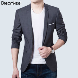 Mens Blazers Jackets Sale Australia - 2019 New Fashion Mens Casual Blazer Single Button Dress Blazer Jacket Men Slim Fit Mens Suit Jacket Solid Coat Men Hot Sale Y