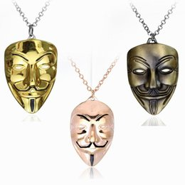 vendetta chain NZ - Jewelry V For Vendetta Mask Necklace Men Jewelry Beautifully Charm Pendant Necklace Cuban Link Chain Metal Jewelry Mens Necklaces