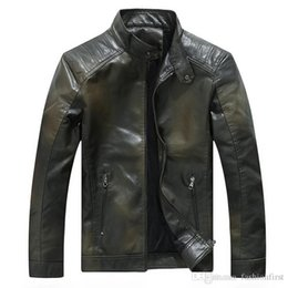 yellow pu jacket NZ - Manufacturers new winter stand collar motorcycle men gradient PU leather jacket youth leather jacket men's clothing designer jackets