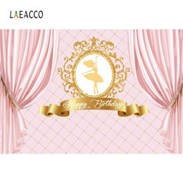 Discount portrait photography backdrop - Princess Backdrops Pink Curtain Birthday Party Gold Crown Ballet Girl Portrait Photography Backgrounds Photocall Photo S