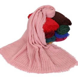 Shawl Beads Blue Australia - new style crinkle cotton with beads scarf Plain Wrinkle Wrap Bubble Cotton Viscose scarves Crinkled Hijab wrap muslim shawl