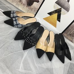 Wholesale New style woman sandals Fashion Designer leather Brand Rivet High heeled shoes banquet Sexy party beach shoes Slingback Pumps mf190524