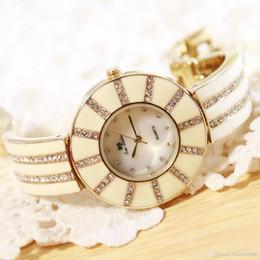 $enCountryForm.capitalKeyWord NZ - New BS Brand Quartz Watch Women Real White Ceramic Band Watch Lady Bussiness Watch Luxury Dress Rhinestone Bangle Bracelet
