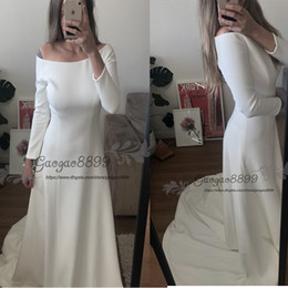 Ruched wedding dResses fit flaRe online shopping - fit and flare Meghan Markle Wedding Gowns New Bateau Neck Long Sleeves Simple Satin Wedding Dresses Long Sweep China Bridal Dresses